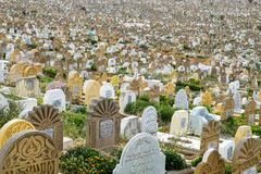 Μουσουλμανικό νεκροταφείο στη Rabat, Μαρόκο που βλέπει σε 05 05 2016 Στοκ Εικόνες