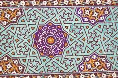 Μουσουλμανικό τέμενος σε Yazd, Ιράν, μπλε arabesque Στοκ Εικόνες