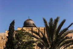 Μουσουλμανικό τέμενος Al-Aqsa στην Ιερουσαλήμ πίσω από τους φοίνικες Στοκ Φωτογραφία