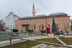 Μουσουλμανικό τέμενος Dzhumaya και ρωμαϊκό στάδιο στην πόλη Plovdiv, Βουλγαρία Στοκ Εικόνα