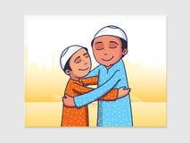 Μουσουλμανικά άτομα που αγκαλιάζουν το ένα το άλλο για τον εορτασμό Eid Μουμπάρακ Στοκ Εικόνες