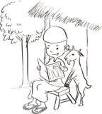 Μουσουλμανική ανάγνωση αγοριών με μια αίγα - απεικόνιση σχεδίων σκίτσων Στοκ εικόνες με δικαίωμα ελεύθερης χρήσης
