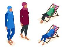 Μουσουλμανική γυναίκα στο μαγιό Στοκ Εικόνες