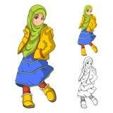 Μουσουλμανική μόδα κοριτσιών που φορά το πράσινο πέπλο ή το μαντίλι με το κίτρινες σακάκι και τις μπότες απεικόνιση αποθεμάτων