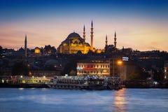 Μουσουλμανικό τέμενος & ηλιοβασίλεμα Suleiman στοκ φωτογραφίες