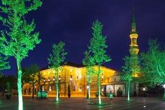 Μουσουλμανικό τέμενος Bayram Haji τη νύχτα Anna Τουρκία Στοκ Φωτογραφίες