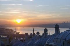 Μουσουλμανικό τέμενος Suleymaniye από την άποψη ανατολής κήπων της Ιστανμπούλ Στοκ φωτογραφία με δικαίωμα ελεύθερης χρήσης