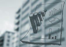 Μουτζουρωμένα γκρίζα κτήριο και έγγραφο doodles Στοκ φωτογραφία με δικαίωμα ελεύθερης χρήσης