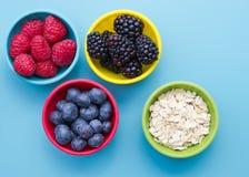 Μούρα και oatmeal στα κύπελλα Στοκ Εικόνα