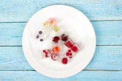 Μούρα που παγώνουν στους κύβους πάγου με τη μέντα στο πιάτο Στοκ εικόνες με δικαίωμα ελεύθερης χρήσης