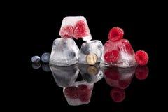 Μούρα που παγώνουν στους κύβους πάγου Στοκ Φωτογραφίες