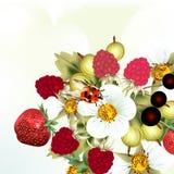 Μούρα, φράουλα και λουλούδια Στοκ Φωτογραφία