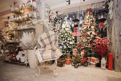μούρων ντεκόρ ελαιόπρινου βασικών φύλλων άσπρος χειμώνας δέντρων γκι χιονώδης Αγροτικό εσωτερικό Χριστουγέννων στοκ εικόνες