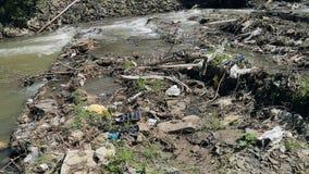 Μολυσμένος ποταμός βουνών Πλαστικά σκουπίδια στους κλάδους απόθεμα βίντεο