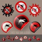 Μολυσμένο διάνυσμα συνειδητοποίησης εικονιδίων κουνουπιών που τίθεται στη μορφή γραμματοσήμων Στοκ φωτογραφία με δικαίωμα ελεύθερης χρήσης