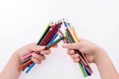 Μολύβια εκμετάλλευσης χεριών Στοκ εικόνες με δικαίωμα ελεύθερης χρήσης