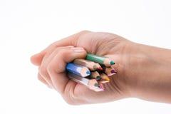 Μολύβια εκμετάλλευσης χεριών Στοκ Φωτογραφίες