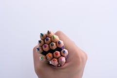 Μολύβια εκμετάλλευσης χεριών Στοκ φωτογραφίες με δικαίωμα ελεύθερης χρήσης