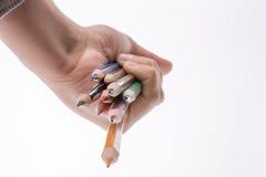 Μολύβια εκμετάλλευσης χεριών Στοκ Εικόνες
