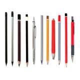 Μολύβια μολύβδου που απομονώνονται στο λευκό, διάφορα μολύβια, μηχανικό penc Στοκ Εικόνες