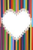 Μολύβια που διαμορφώνουν ένα θέμα αγάπης καρδιών Στοκ Εικόνες