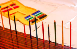 Μολύβια στον πίνακα Στοκ εικόνες με δικαίωμα ελεύθερης χρήσης