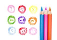 Μολύβια χρώματος και συρμένα εικονίδια Στοκ φωτογραφίες με δικαίωμα ελεύθερης χρήσης