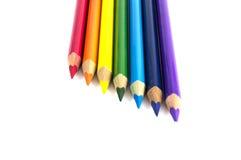 Μολύβια χρώματος που απομονώνονται πέρα από το λευκό στοκ εικόνες