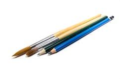 Μολύβι και πινέλο Στοκ φωτογραφία με δικαίωμα ελεύθερης χρήσης