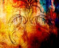 Μολύβι που επισύρει την προσοχή σε παλαιό χαρτί λουλούδι διακοσμητικό Και σημεία χρώματος στο υπόβαθρο Στοκ Εικόνες