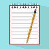 Μολύβι στο σημειωματάριο απεικόνιση αποθεμάτων