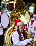 Μπάντα στην παρέλαση οδών ημέρας των ευχαριστιών του Σικάγου στοκ εικόνα