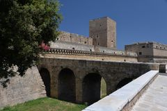 Μπάρι, Apulia, Ιταλία Άποψη του μεσαιωνικού κάστρου πόλεων Στοκ Φωτογραφία