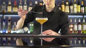 Μπάρμαν που κατασκευάζει το οινοπνευματώδες ποτό απόθεμα βίντεο
