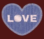 Μπάλωμα τζιν με την κεντητική αγάπης Στοκ Εικόνα