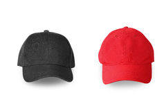Μπέιζ-μπώλ μαύρη και κόκκινη ΚΑΠ που απομονώνεται στο άσπρο υπόβαθρο Στοκ φωτογραφία με δικαίωμα ελεύθερης χρήσης