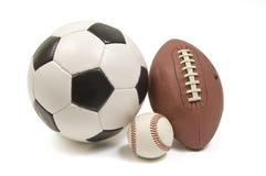 Μπέιζ-μπώλ, ποδόσφαιρο, και σφαίρα ποδοσφαίρου Στοκ Φωτογραφία