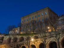 Μπέργκαμο Ιταλία Η παλαιά πόλη Τα παλαιά και ιστορικά κτήρια στην ανώτερη πόλη Στοκ φωτογραφία με δικαίωμα ελεύθερης χρήσης