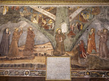 Μπέργκαμο - νωπογραφία του ST Francis στον τοίχο του καθεδρικού ναού Σάντα Μαρία Maggiore Στοκ φωτογραφία με δικαίωμα ελεύθερης χρήσης