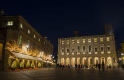 Μπέργκαμο - παλαιά πόλη, τοπίο στην παλαιά κύρια τετραγωνική αποκαλούμενη πλατεία Vecchia, η δημόσια βιβλιοθήκη αποκαλούμενη Ange Στοκ Φωτογραφίες