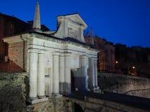 Μπέργκαμο - παλαιά πόλη Citta Alta Μια από την όμορφη πόλη στην Ιταλία Lombardia Τοπίο στην παλαιά πύλη Porta SAN Giacomo Στοκ Φωτογραφία
