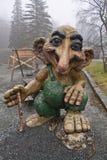 Μπέργκεν, Νορβηγία - 8 Μαρτίου 2012: τεράστια γιγαντιαία troll ξύλινη φρουρά πλασμάτων γλυπτών μυθική του δάσους Βίκινγκ Στοκ φωτογραφία με δικαίωμα ελεύθερης χρήσης