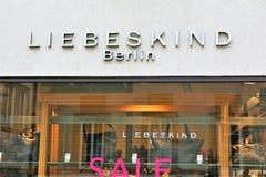 01/06/2018 - Μπίλφελντ/Γερμανία - μια έννοια ενός Liebeskind, λογότυπο του Βερολίνου Στοκ Εικόνες