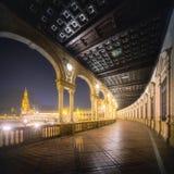 Μπαλκόνι Plaza de Espana στη Σεβίλη, Ισπανία, Ανδαλουσία Διάσημα τουριστικά θέση και ορόσημο της Σεβίλλης Στοκ Εικόνες