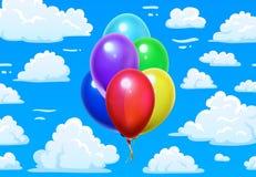 Μπαλόνια δεσμών στα σύννεφα Μπλε νεφελώδης ουρανός κινούμενων σχεδίων και ζωηρόχρωμη τρισδιάστατη στιλπνή διανυσματική απεικόνιση ελεύθερη απεικόνιση δικαιώματος