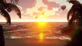 Μπαλόνια ζεστού αέρα πέρα από την μπλε θάλασσα στο ηλιοβασίλεμα θερινό διάνυσμα απεικόνισης ανασκόπησης όμορφο διανυσματική απεικόνιση