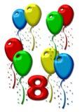 μπαλόνια ζωηρόχρωμα οκτώ απεικόνιση αποθεμάτων