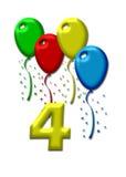 μπαλόνια ζωηρόχρωμα τέσσερα απεικόνιση αποθεμάτων
