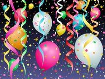 Μπαλόνια, κομφετί και ταινίες των διαφορετικών χρωμάτων ελεύθερη απεικόνιση δικαιώματος