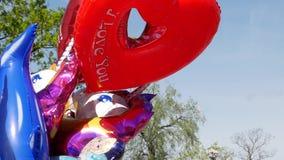Μπαλόνια που γεμίζουν ζωηρόχρωμα με το ήλιο φιλμ μικρού μήκους